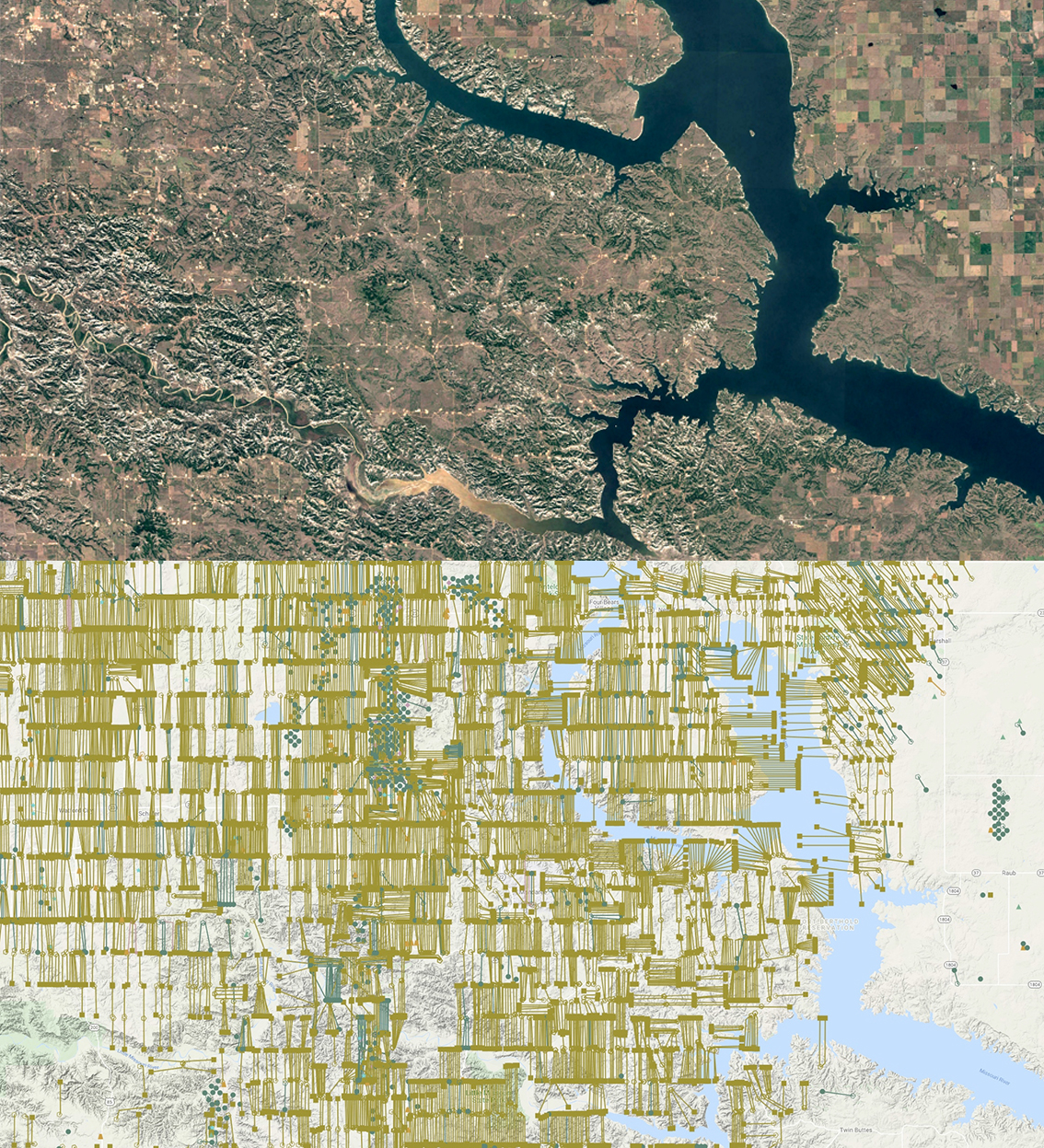 Top: Satellite image of oil well pads on the lands of the Mandan, Hidatsa and Arikara Nation, 2020. Source: Google Earth   Bottom: Visualization of horizontally drilled and fracked oil and gas wells on the lands of the Mandan, Hidatsa and Arikara Nation, 2020. Source: WellDatabase.com