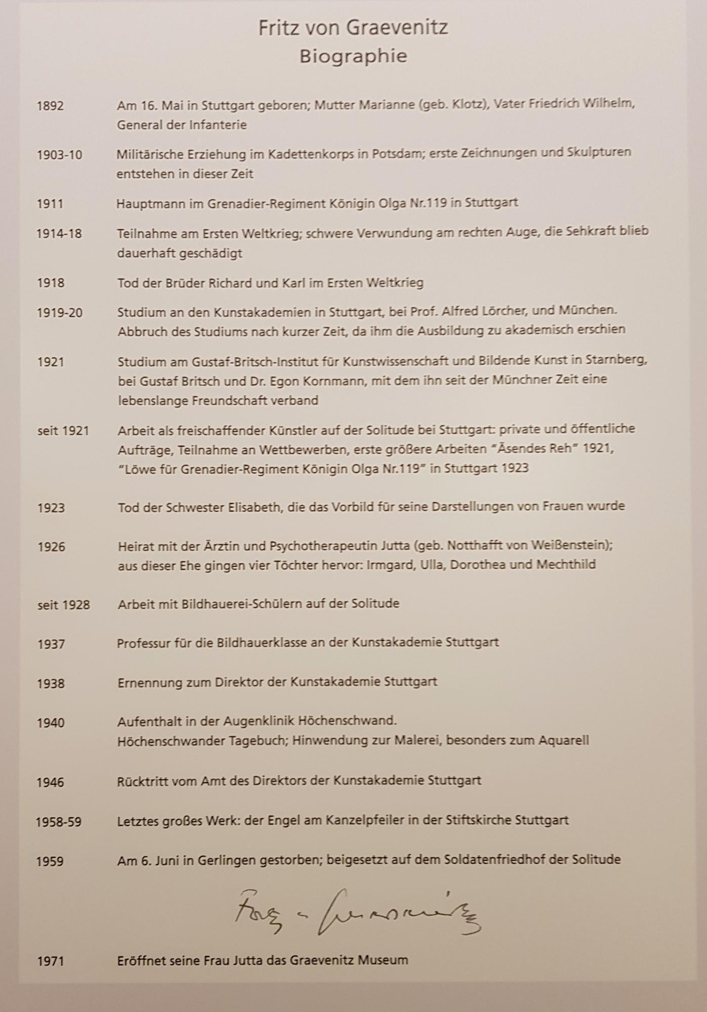 Biography of Fritz von Graevenitz as displayed at the Graevenitz Museum, Stuttgart.  Photo: Angela Anderson (2020)
