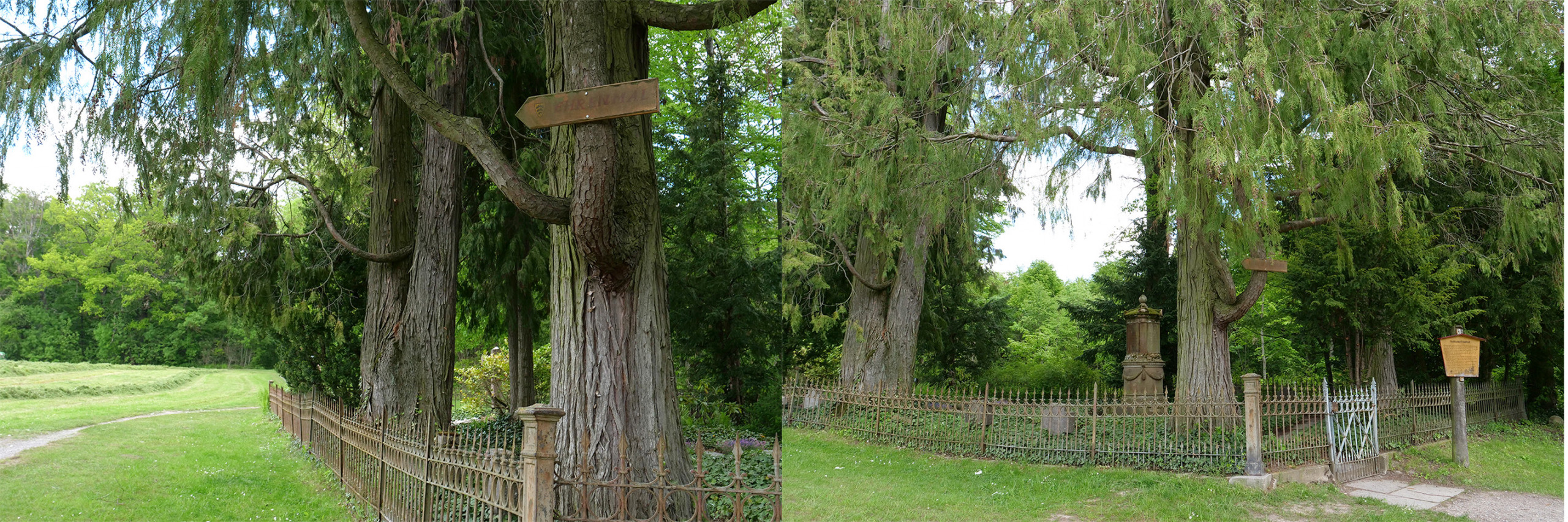 """Sign pointing to the Kameraden-Gedenkstein  """"Ehrenmal"""" next to the Solitude Cemetary. Photos: Angela Anderson (2021)"""